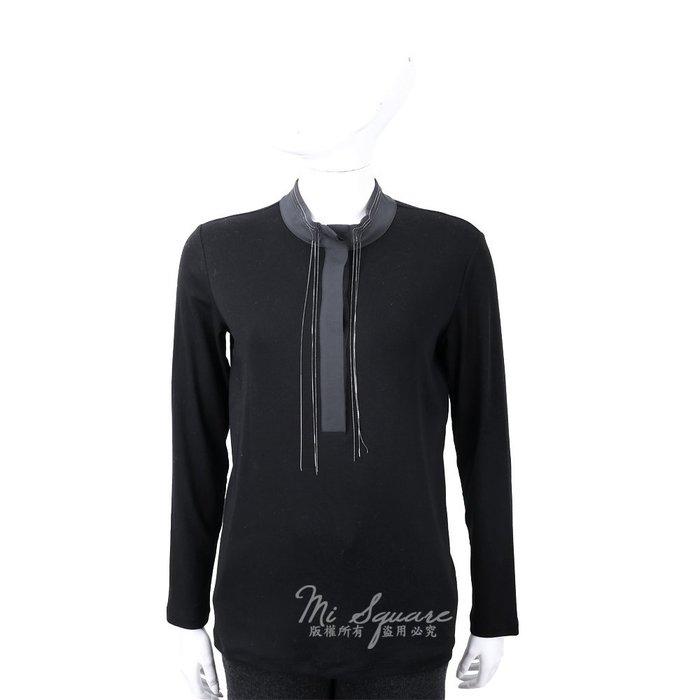 米蘭廣場 FABIANA FILIPPI 墜鍊撞色細節黑色立領絲質上衣 1810041-01