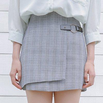 韓國風名媛簡約開叉皮扣格子半身裙單品短裙 下單送襪子或聖誕帽唷