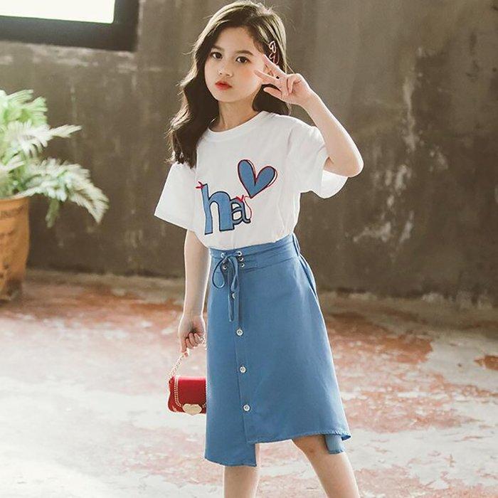 •*~ 辣媽咪衣飾小舖 ~*•❤童裝系列❤K050498韓版大童夏款甜美簡約有型短袖上衣+短裙二件套