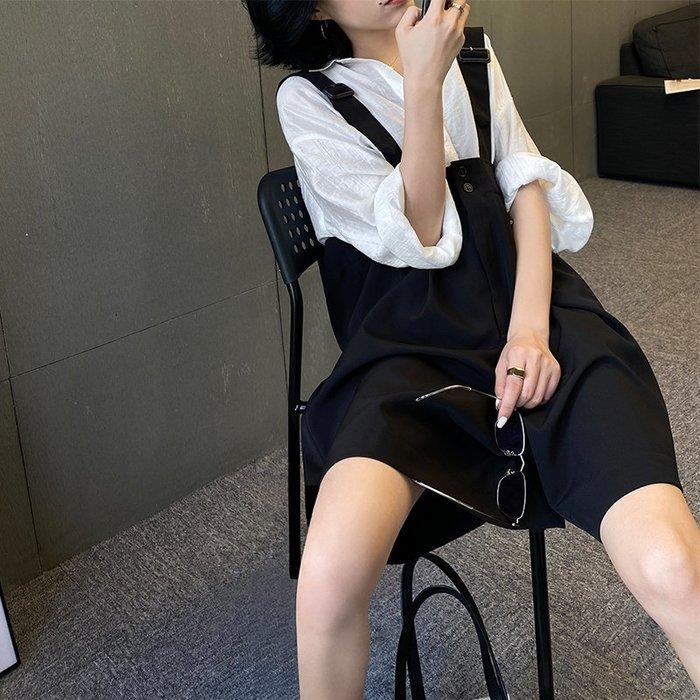 【極簡時尚】高腰西裝五分褲減齡吊帶短褲連身褲寬鬆闊腿五分褲