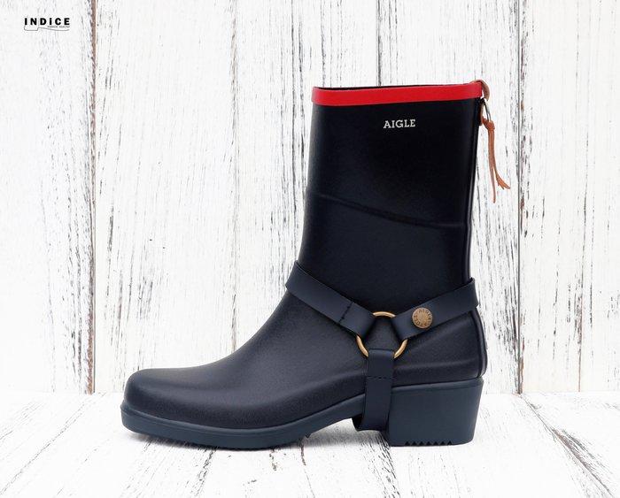INDiCE ↗ 一靴兩穿 AIGLE Miss Juliette 經典手工短筒中跟雨靴 法國製 紅邊海軍藍