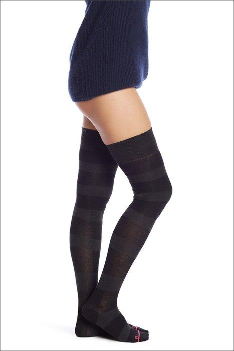 °☆就要襪☆°全新英國品牌 PRETTY POLLY LUREX STRIPE 寬版橫條造型棉柔長統襪