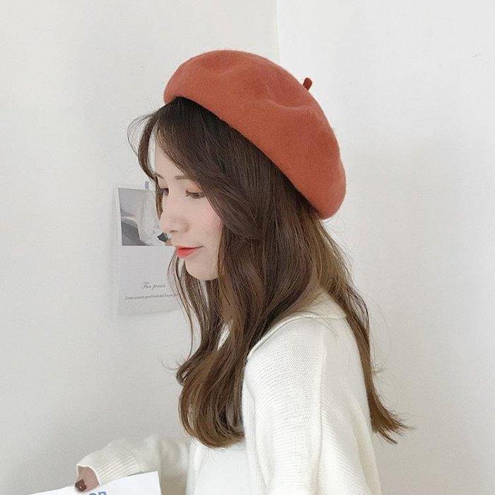 帽子 帽子女秋冬季羊毛呢貝雷帽韓版日系百搭學生畫家帽英倫南瓜蓓蕾帽全館免運