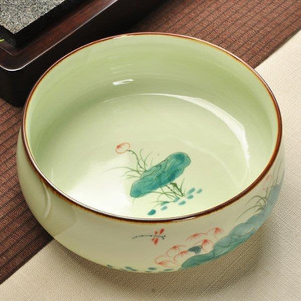 5Cgo【茗道】含稅會員有優惠  520977265106 茶具手繪青瓷茶洗大號杯洗水洗茶碗茶道配件陶瓷筆洗洗杯碗裝水