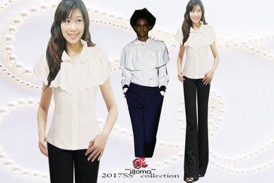 FASHION STAR~MIT台製獨家~春夏極瘦修長~巴黎名牌款~巴洛克甜美女孩~花瓣披肩白色襯衫XS~2L