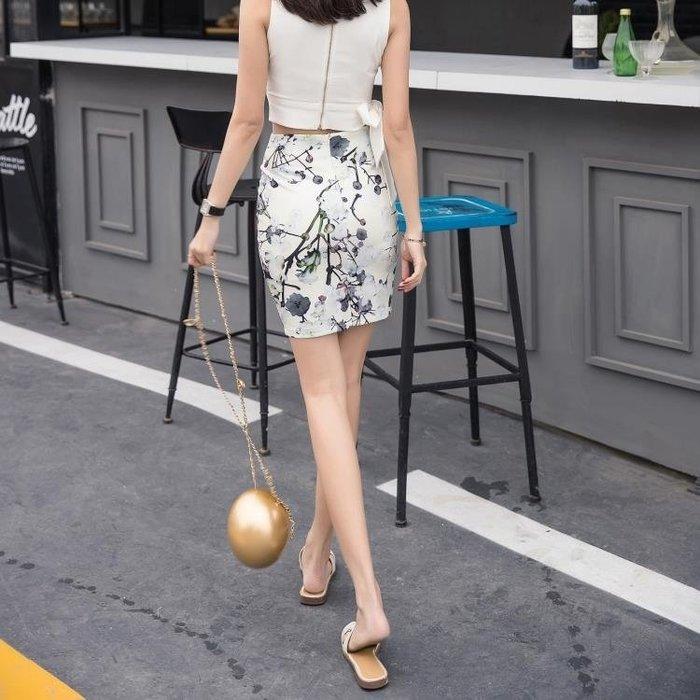 短裙包臀裙印花半身裙中長款春夏高腰百搭修身顯瘦韓版包裙一步裙『左鄰右裏 』(可開立發票)