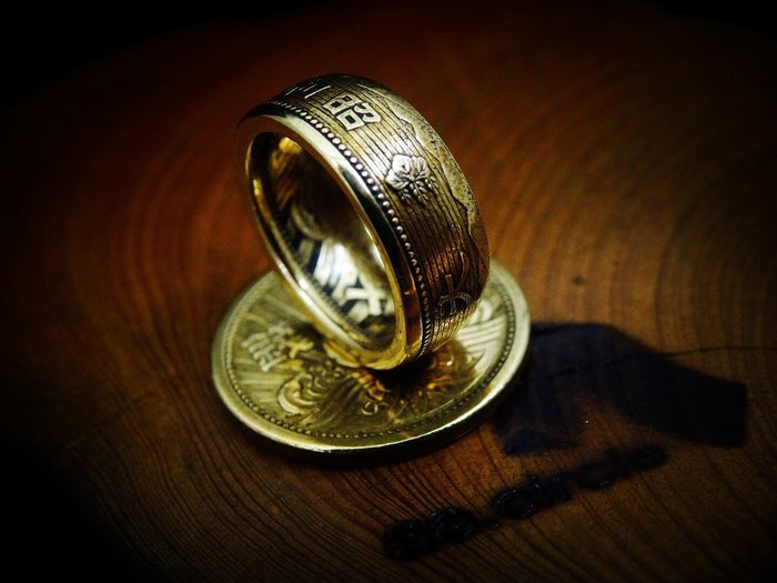 ao.circle 奢扣 {原創} 手工客製 日本 昭和 十三年 十五年 十錢 太鼓 招財 發財 銅幣 手工戒指
