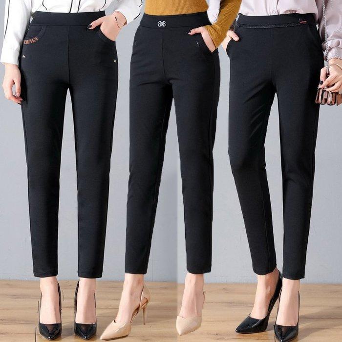 春夏媽媽裝女褲子鬆緊腰氣質黑色百搭彈力休閒褲中年女小直筒長褲