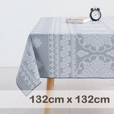 CasaBella美麗家居 | 防水 桌巾 淺灰巴洛克 132x132cm | 桌布 野餐 餐墊 露營