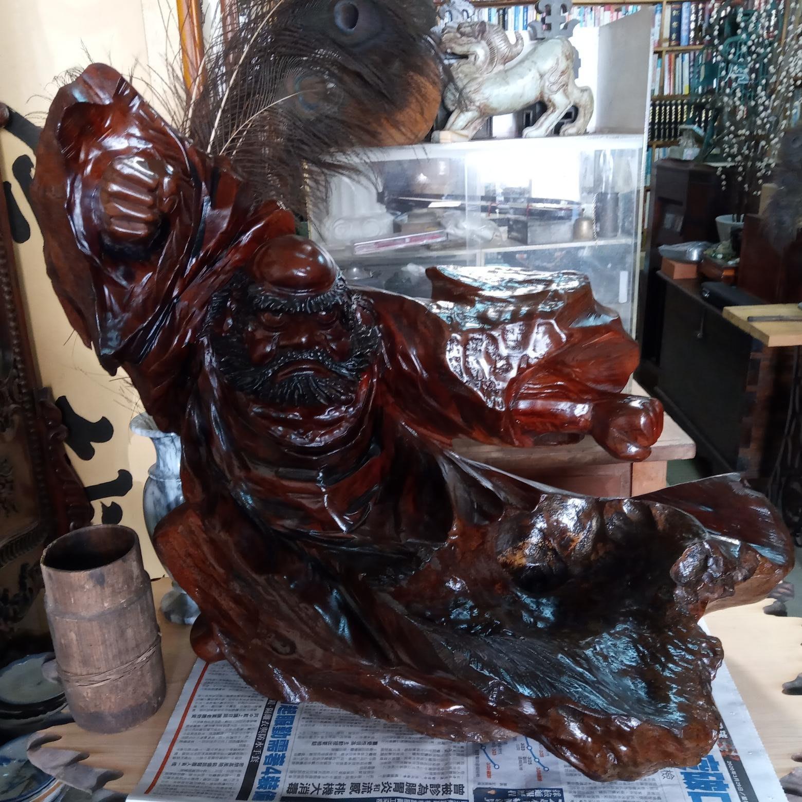 *阿柱的店*早期 雕刻 達摩祖師 紅豆杉