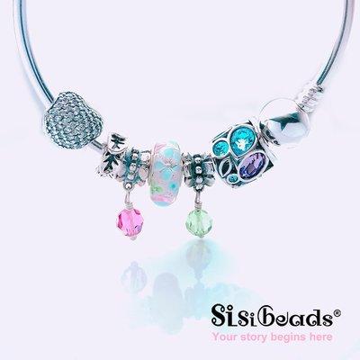 Sisibeads 純銀手鍊 適PANDORA潘朵拉 手工彩繪琉璃 迷幻森林 粉藍小花銀河 串珠 現貨代購 另有一元起標