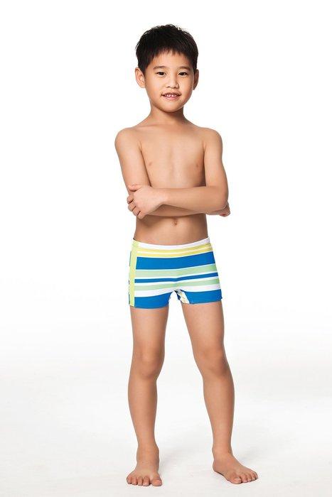 【  APPLE   】蘋果牌泳裝降價↘特賣~男童藍白綠橫條螢光配邊平口泳褲   NO.106201