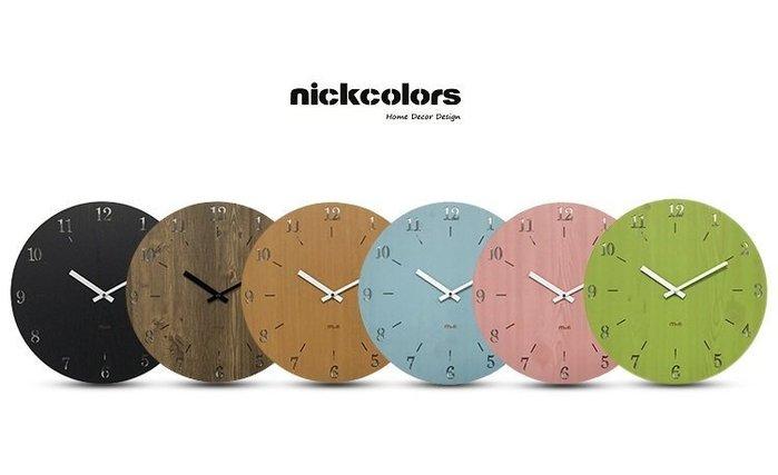 尼克卡樂斯~北歐簡約木質掛鐘 時尚 簡約 圓形靜音時鐘 兒童房 餐廳掛鐘 咖啡廳時鐘 客廳臥室掛鐘 北歐風壁掛時鐘