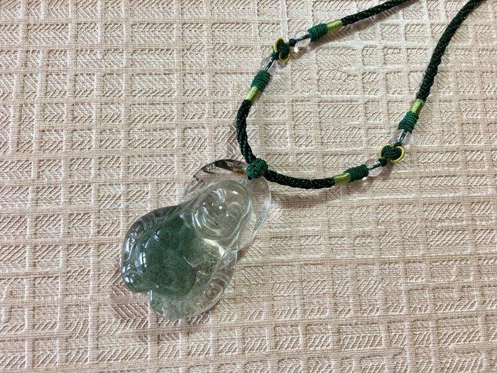 早期料天然綠幽水晶雕刻-璞雕財神墜彌勒佛項鍊-48g