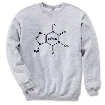 Caffeine Molecule男女中性【現貨】大學T 刷毛 2色  咖啡因分子 文青 藝術 設計 時髦 文字 時尚