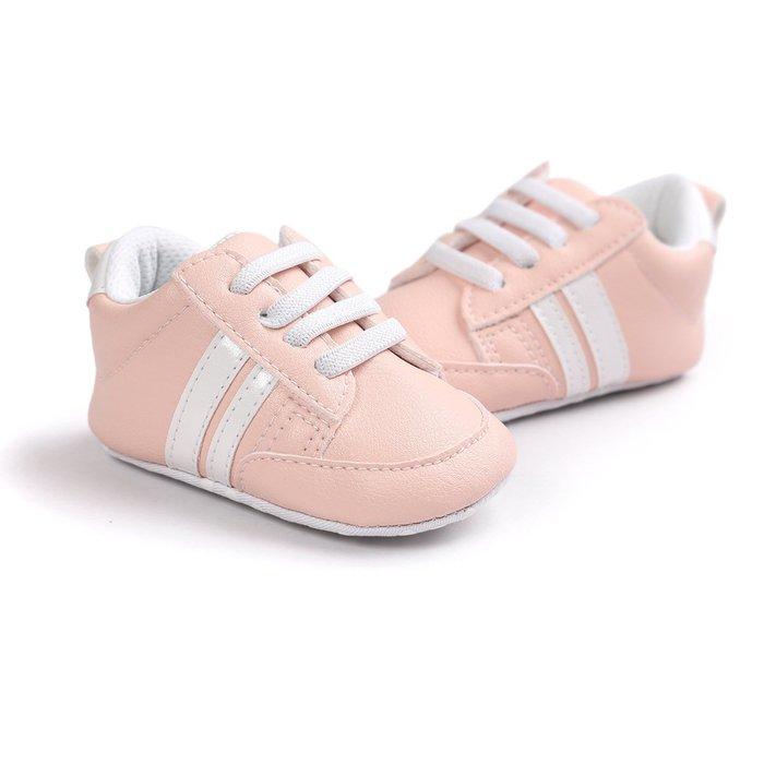 森林寶貝屋~特價~時尚粉色休閒球鞋~特價~學步鞋~幼兒鞋~寶寶鞋~嬰兒鞋~學走鞋~童鞋~鬆緊帶設計~坐學步車穿~彌月贈禮