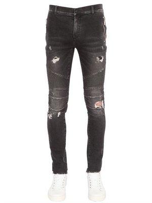 ~The Black Dan Moccani~ [頂級牛仔褲入門] BALMAIN 補丁/刷破 拉鍊口袋 騎士窄管牛仔褲