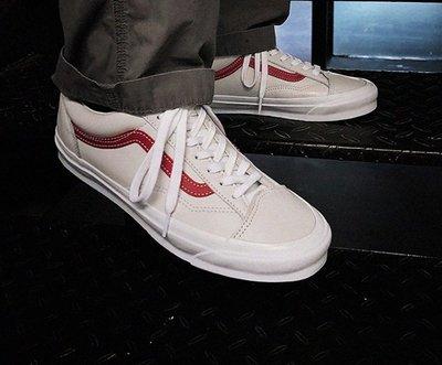 20S Vans Vault OG Style 36 皮革 全白 紅線 短頭 百搭 GD 男女鞋VN0A4BVE21D1