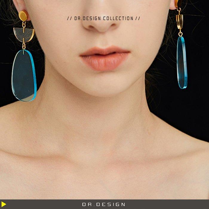 10/23新品►DR.DESIGN│DR31712-小眾設計 簡約氣質 浮誇 復古 未來感 拼色 壓克力 耳環 藍/綠