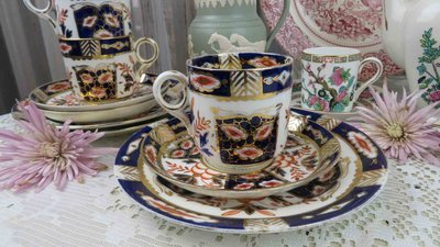 紫丁香歐陸古物雜貨♥英國vintage 伊萬里IMARI手描金花朵下午茶3件式杯盤組.咖啡杯盤組(一) 新北市