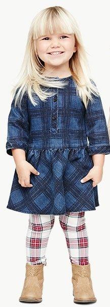 【Nichole's歐美進口優質童裝】Old Navy 女童 丹寧格紋牛仔連身裙*Carter's/OshKosh
