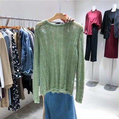 Dreamyshow韓國代購 2019早秋新款LUNATIC BLUE女毛衣套頭百搭針織編織馬海毛長袖圓領