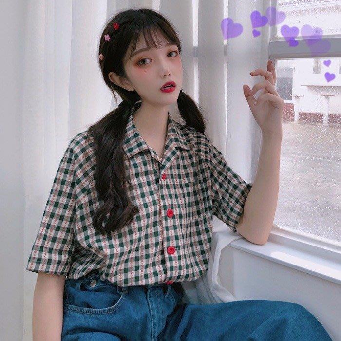 小香風 短袖T恤 時尚穿搭 韓版 寬松小花朵短袖襯衫女格子襯衣學院風防曬衣上衣