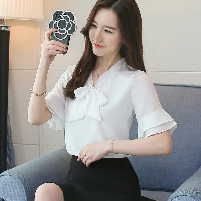 女 短袖 襯衫 雪紡 韓版 V領 氣質 OL 上班族 【柔依衣坊 Zoe Shop】C30-726