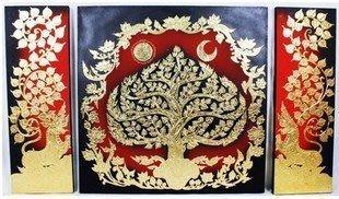 INPHIC-東南亞家居飾品 泰國風情壁飾 進口金箔 菩提樹 畫 一套