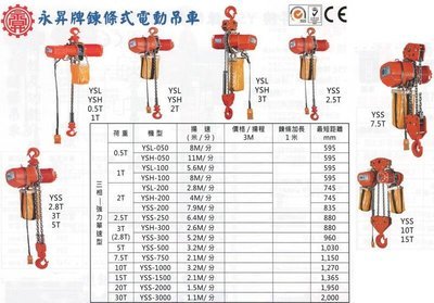 永昇牌 鍊條式電動吊車 鏈條式電動吊車 三相-強力單速型 YSS-200 揚程:3M 荷重:2T