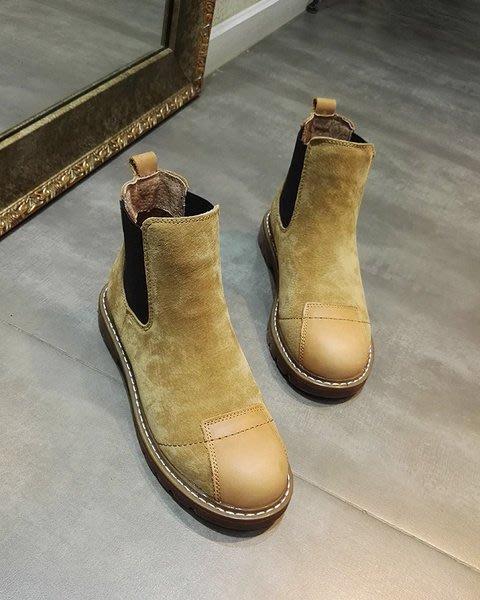 *姑涼家*英倫風複古平底牛皮短靴補丁款平跟馬丁靴女學生靴休閑裸靴子