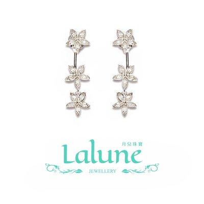 Lalune月兒珠寶 ||The pinkprint 粉指印|| 串花造型 耳針式晃動耳環 晶鑽CZ鋯石 925純銀