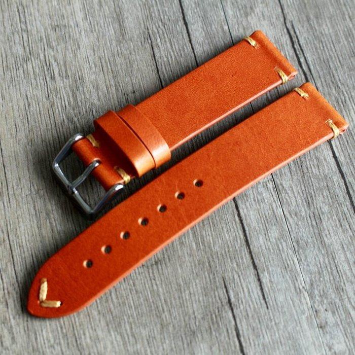 手錶配件 飾品 錶帶 錶扣 柔軟橙黃色DW 18 19 20 21 22MM 樹膏皮男 NOMS女 超薄真牛皮表帶