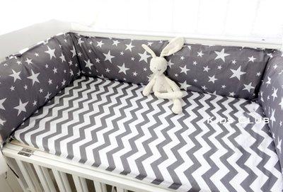 【Kids Club】北歐風格高雅氣質寶寶嬰兒純棉簡約個性深灰五角星星閃電印花特製訂製布料-兩件組