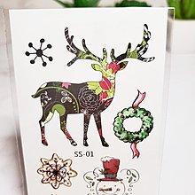 【萌古屋】聖誕節麋鹿花圈 - 兒童防水紋身貼紙刺青貼紙SS-01