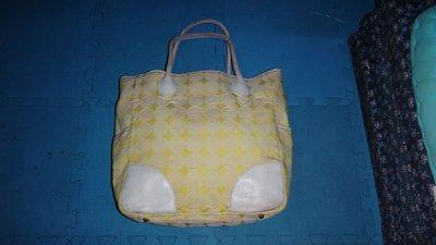 ~保證真品 Anna Sui 黃白色真皮和單寧布料款手提包 大方包 肩背包~便宜起標無底價標多少賣多少