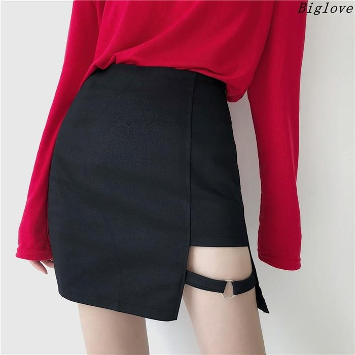 超火的不規則半身短裙女新款韓版高腰顯瘦A字包臀裙子