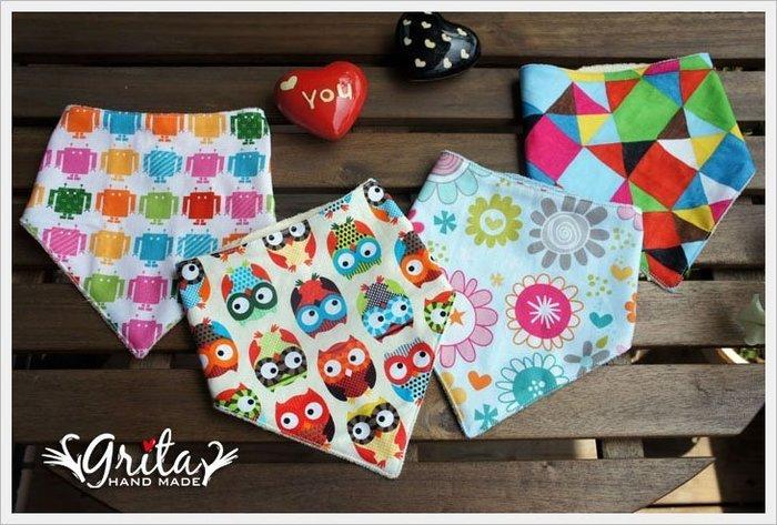 ♥grita's handmade♥純棉手作嬰幼兒三角巾,可當圍兜兜/領巾/口水巾,幫造型加分