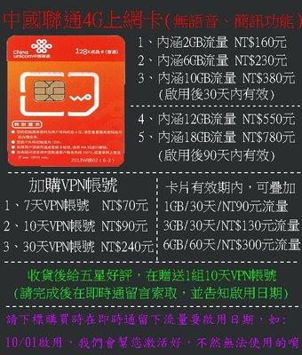 中國大陸4G手機上網卡 6GB流量卡 中國聯通4G上網卡 支援3G上網卡 4G行動網卡(6GB流量賣場)