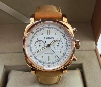 【六樓先生】柏尼時PARNIS多功能 日本石英機芯 頭層牛皮錶帶 藍寶石鏡面 計時錶