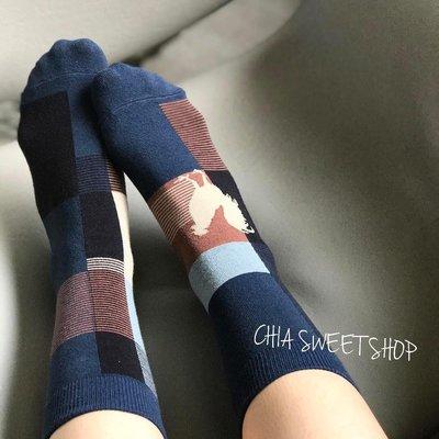 ☆Chia sweet shop☆現貨公雞方塊不對稱棉質中筒襪