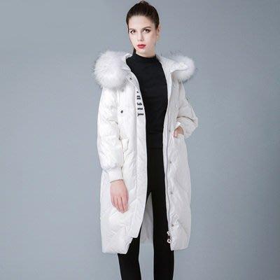 羽絨 外套 連帽夾克-貉子毛毛領寬鬆長款女外套4色73um12[獨家進口][米蘭精品]