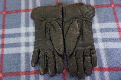 時尚】黑色真皮革皮草保暖手套