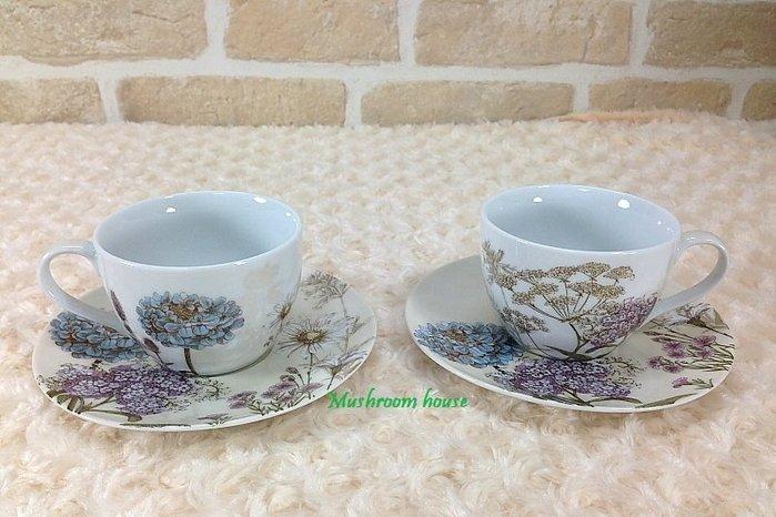 點點蘑菇屋 義大利Easy Life植物園花茶杯盤組-粉黃(二杯二盤) 咖啡杯 禮盒裝 現貨