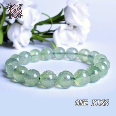 ONE KISS 天然葡萄石11mm單圈水晶手鏈 冰種葡萄石 清新淡雅 18BJ.185