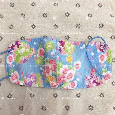 現貨 日本面料 純棉手工 口罩 立體感 2號 夏天泡泡布 水藍和風 薄透涼爽