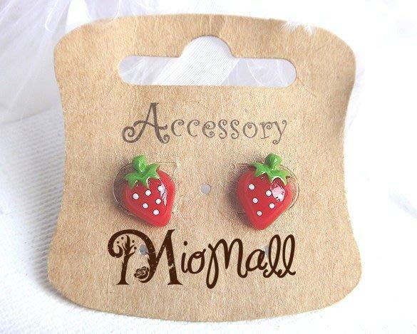 韓國♥夢幻草莓女孩♥鮮嫩欲滴香甜草莓 忍不住想咬一口 草莓耳環♥