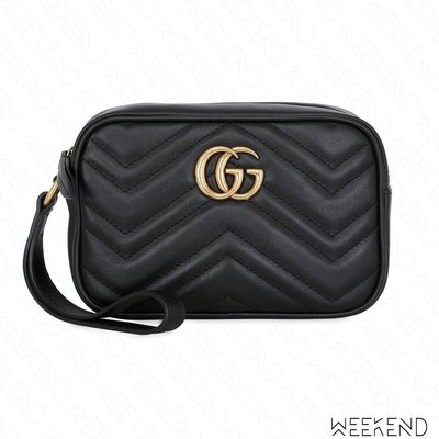 【WEEKEND】 GUCCI GG Marmont 皮革 手拿包 黑色