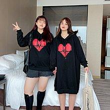 FQ3韓國專櫃大碼百分百2021秋季新款衛衣胖mm顯瘦撞色愛心洋氣休閒時尚上衣女