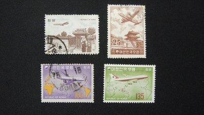 【大三元】韓國銷戳票- E106  航空郵票-老票4枚